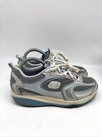 Skechers Shape Ups Womens Comfort Walking Toning Shoes Silver Blue Size 8