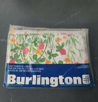 Vintage NOS Burlington Floral Twin Flat No-Iron Bed Sheet