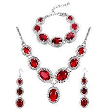 placcato argento cristallo rosso Collana con pendente, Bracciale &
