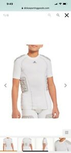 Addidas Youth Techfit Padded Football Compression Shirt White & Gray...Worn Once