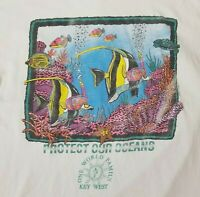 VTG 90s Protect Our Oceans T-Shirt Mens XL Key West Fish Single Stitch Tee White