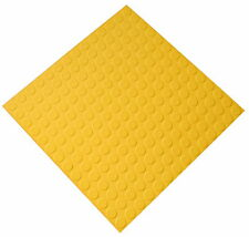 Yellow Indoor Highest Quality Round Stud Synthetic Rubber Tiles 50cm x 5mm Thick