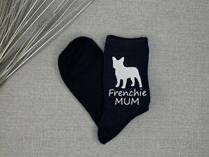 Frenchie Mum Ladies Navy Socks Vinyl Printed French Bulldog Christmas Gift