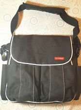 ** SKIP*HOP Black with White Trim Dash Deluxe Diaper Bag with Changing Pad