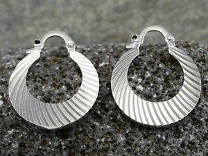 Stripe Cut White Gold GF 2.5cm Hoops / Earrings