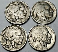 4 Coin Lot BUFFALO NICKELS 1934-D, (2)-1936-S, & 1937-P, 5 Cents US Coins *