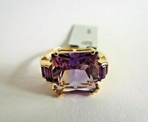 5.47 Ct Natural Bicolor Ametrine & Amethyst 9K Solid Yellow Gold Ring Size 7