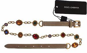 NEW $900 DOLCE & GABBANA Belt Beige Suede Multicolor Crystal Waist s. L / 95cm