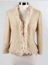 ESCADA Metallic Cream Tweed Fringe Blazer Jacket