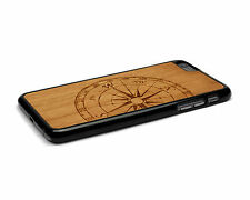 Handcrafted Wood iPhone 6 Plus Case with Soft Rubber Sides by Nuwoods, Compass