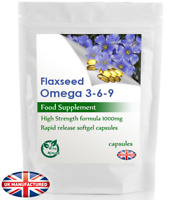 Flaxseed Omega 3+6+9 Oil - (30/60/90/120/180 Capsules), Cold Pressed 1000mg, UK