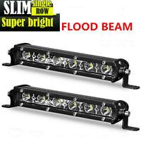 2X Slim 7Inch CREE LED Light Bar Single Row Flood Offroad Driving ATV 4WD SUV