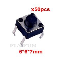 50pcs 6*6*7mm Tactile Push Button Switch 4pin Tact Switch 4P DIP for Arduino