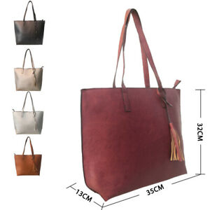 New Womens Stylish Large Tote Handbag Girls Shoulder Bag With Tassels