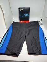 Speedo Men and Boys' Endurance+ Launch Splice Jammer Swimsuit, Black/Blue, 32