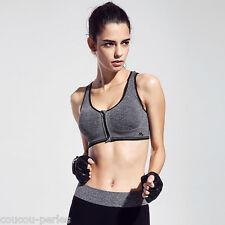 Women Padded Sports Bra Front Zip Yoga Gym Ladies Workout Running Vest