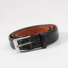 New $950 ISAIA Black Genuine Crocodile Belt with Silver Buckle 36 Waist