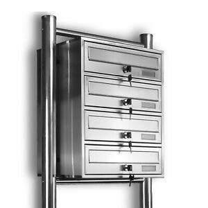 4er Kelvin® - Edelstahl Standbriefkasten Briefkasten Briefkastenanlage