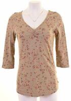 ESPRIT Womens Top Blouse Size 14 Large Khaki Floral Cotton  IH09