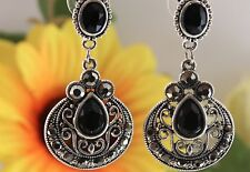 Cara NY Silver Tone Black Stone Crystal Victorian Style Statement Drop Earrings