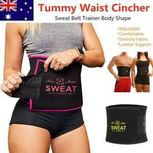 Women Men Waist Trainer Trimmer Sweat Belt Shaper Wrap Tummy Stomach Weight Loss