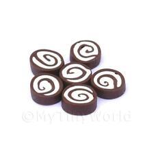 8x miniatura per casa delle bambole cioccolato fondente e panna rollé A FETTE