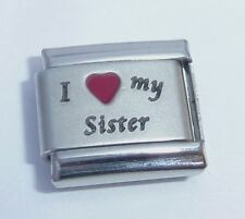 I LOVE MY SISTER Italian Charm Red Heart 9mm fits Classic Bracelets E377 Big Sis