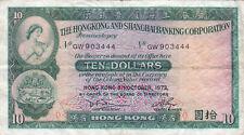CHINESE HONG KONG AND SHANGHAI BANKING CORPORATION 10 DOLLAR BANKNOTE