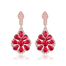 Exquisite Red Garnet Beads Crystal Engagement Flower Rose Gold Dangle Earrings