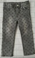 Adorable Toddler Girl's Cherokee Skinny Gray with Hearts Jeans Size 2T
