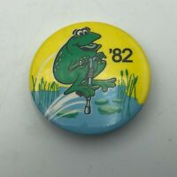 "1982 Frog On A Pogo Stick 1-3/4"" Button Pin Pinback Vintage   E7"