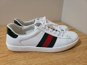 Gucci Signature Ace White Leather Lace Up Sneaker 386750 Men's Size 9.5 US