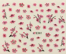 Nail Art 3D Decal Stickers Japanese Cherry Blossom Flower Tree Pink Flower E361