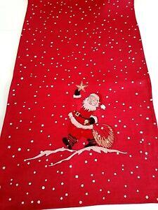 Weihnachts- Tischdecke Rot Weihnachtsmann  - Tischläufer Mittelecke  40x140cm