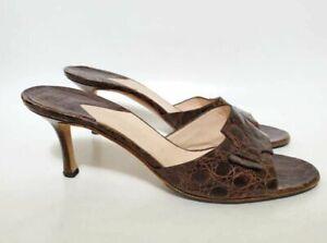Gianni Milanesi Womens 40 Slide Sandal Brown Leather Crocodile Print Open Toe