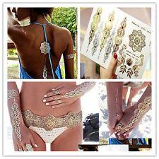 Waterproof Metallic Gold Indian wedding back Body art jewelry armlet Tattoo
