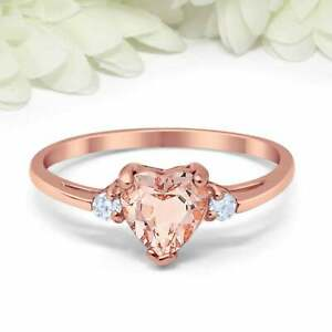 1.2ct Heart Cut Peach Morganite Butterfly Engagement Ring 14ct Rose Gold Over