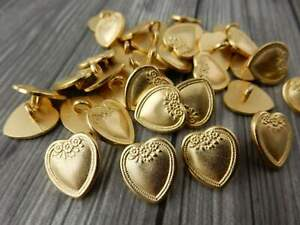"""VINTAGE VICTORIAN Metal Buttons Soft Gold Heart Flowers Button 5/8"""" 15mm Qty 4"""