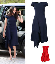 Meghan Markle Navy Drape Asymmetric Dress Boatneck Barwick Midi A-line Office