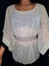 Khaki/Black Poke a dot 3/4 sleeve chiffon blouse