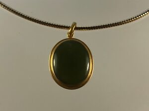 Antique Islamic Rare Green Yemen Agate Stone with 18 K Solid Pendant Frame