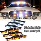 White Amber Yellow 54 LED Warning Strobe Lights Bars Deck Dash Windshield Grill