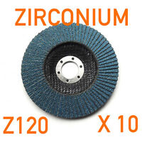 """10 x Pack 100mm (4"""") x 16mm Zirconium Flap Discs Angle Grinder 120 GRIT Z120"""