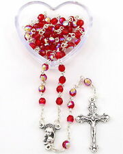 NEW MADE IN ITALY LOVELY DELICATE RED GLASS ROSARY IN HEART SHAPED GIFT BOX