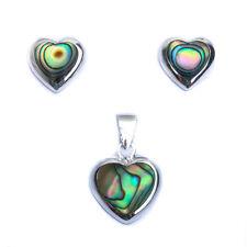 Abalone Shell Heart .925 Sterling Silver Earring & Pendant Jewelry set