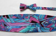 "Vintage 1990's Blue & Purple Abstract Print Bow Tie & Cummerbund 31""-36"" Waist"