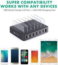 6-Port USB Charging Hub Station Dock for Smart Phones, Tablets, Watch Black New