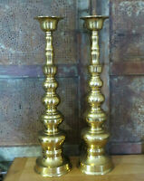 """Vintage Pair HOMCO Japan Mid-Century 18"""" Tall Brass Candlesticks Taper Candle"""