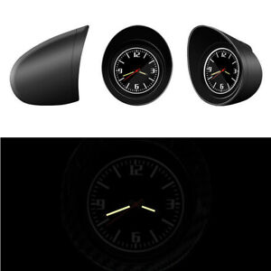 Car Dashboard Clock Round Glass Mirror Luminous Backlight Removable Black Shell