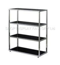 Chrome Black Glass 4 Shelves Shop Counters Retail Storage Display Cabinet Stand